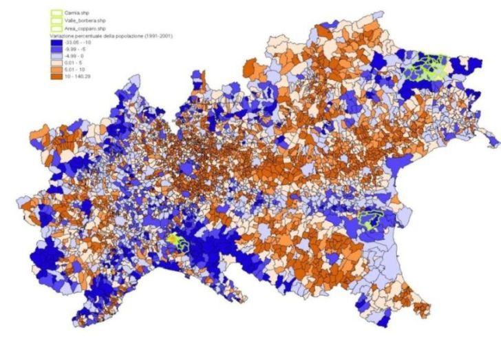Mappa variazioni popolazioni